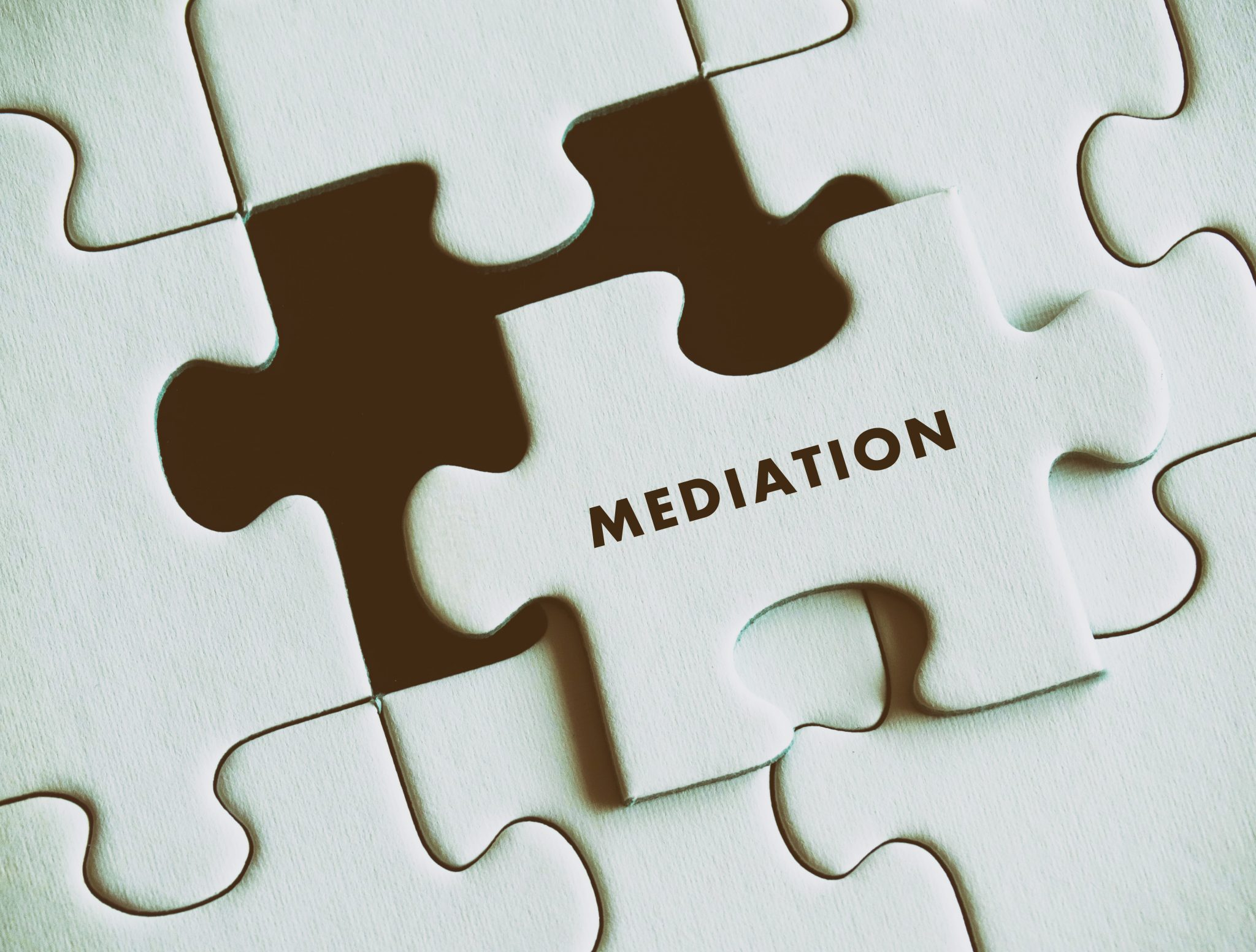 Mediation law puzzle concept.