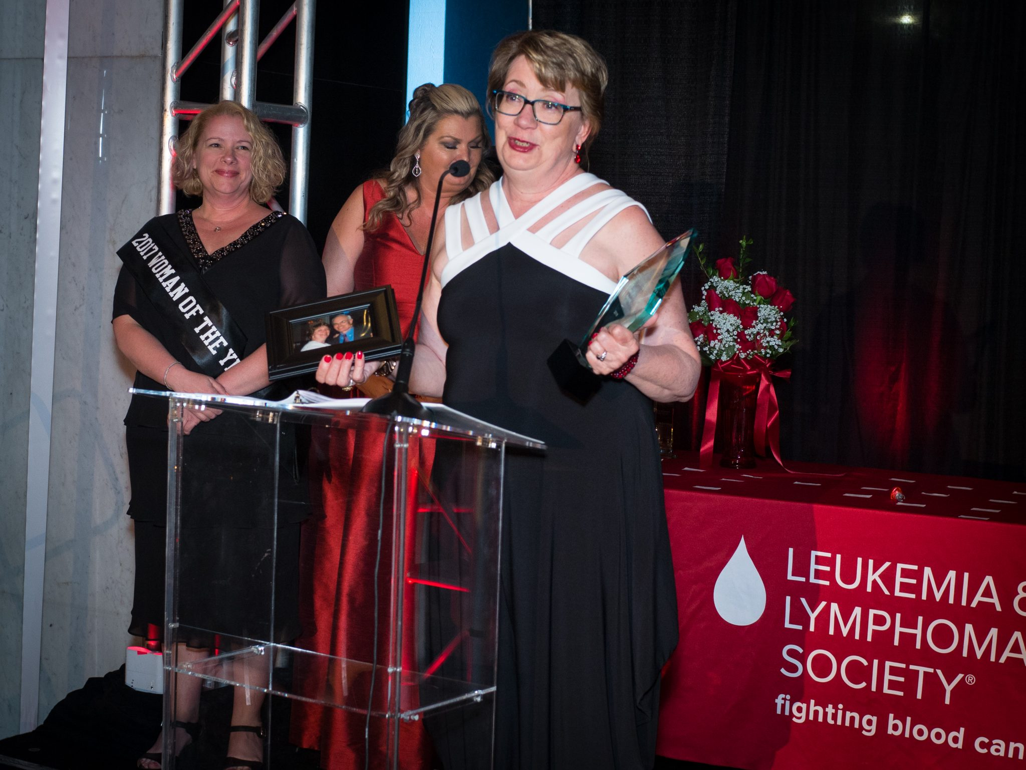 Mary Cushing Doherty receiving her award for LLS woman of the year in PA