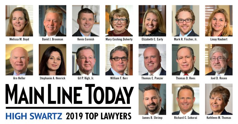 2019 best lawyers from High Swartz law firm by Main Line Today Pennsylvania magazine