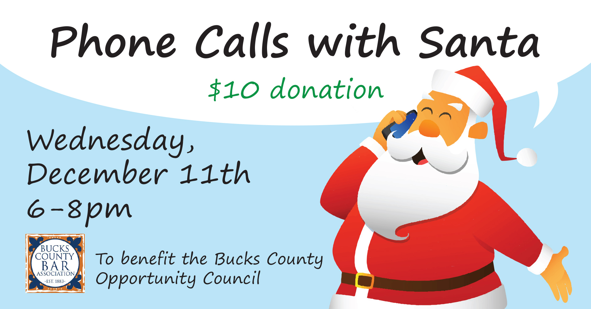 "Bucks County Bar Association to host ""Phone Calls with Santa"" Event"